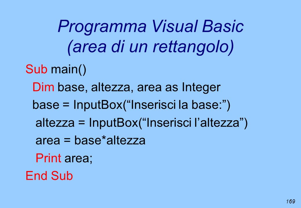 Programma Visual Basic (area di un rettangolo)