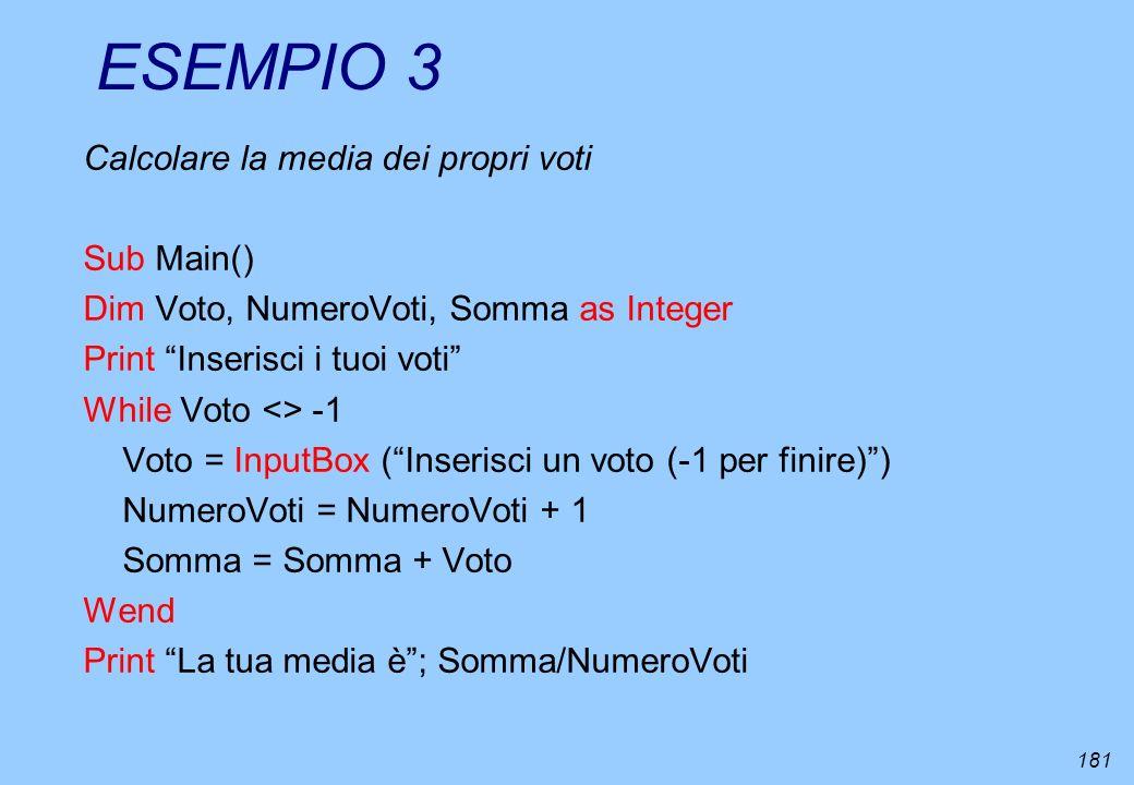 ESEMPIO 3 Calcolare la media dei propri voti Sub Main()