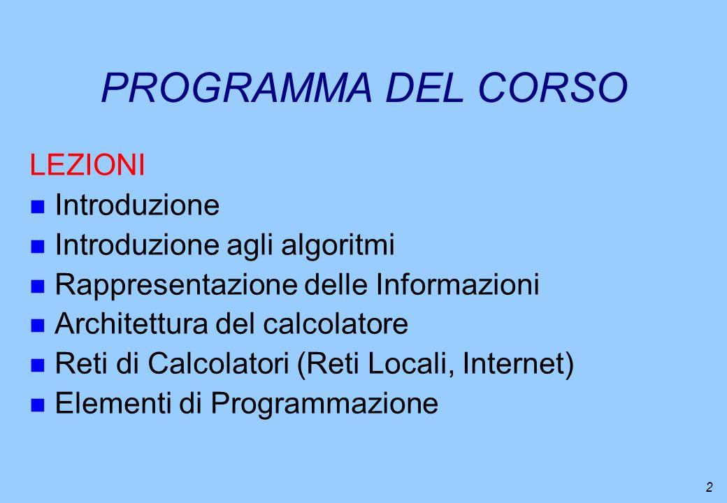 PROGRAMMA DEL CORSO LEZIONI Introduzione Introduzione agli algoritmi