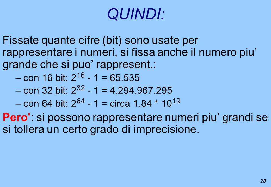 QUINDI: Fissate quante cifre (bit) sono usate per rappresentare i numeri, si fissa anche il numero piu' grande che si puo' rappresent.: