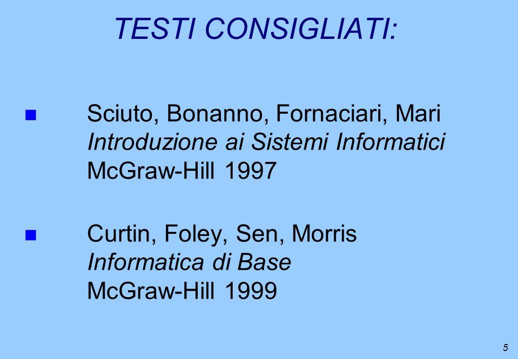 TESTI CONSIGLIATI: Sciuto, Bonanno, Fornaciari, Mari