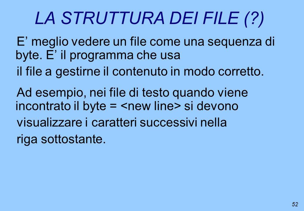 LA STRUTTURA DEI FILE ( )