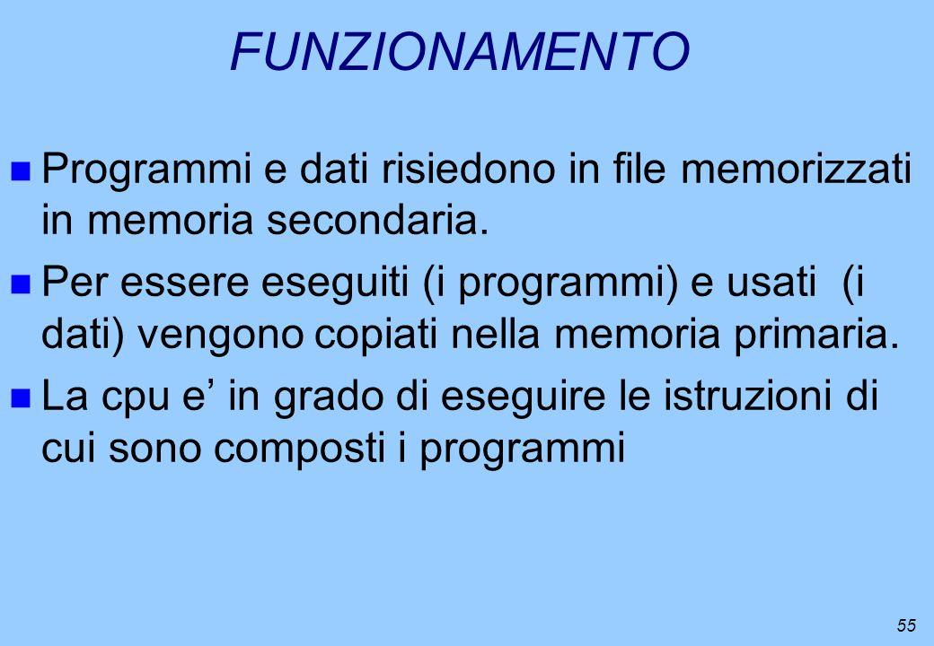 FUNZIONAMENTO Programmi e dati risiedono in file memorizzati in memoria secondaria.