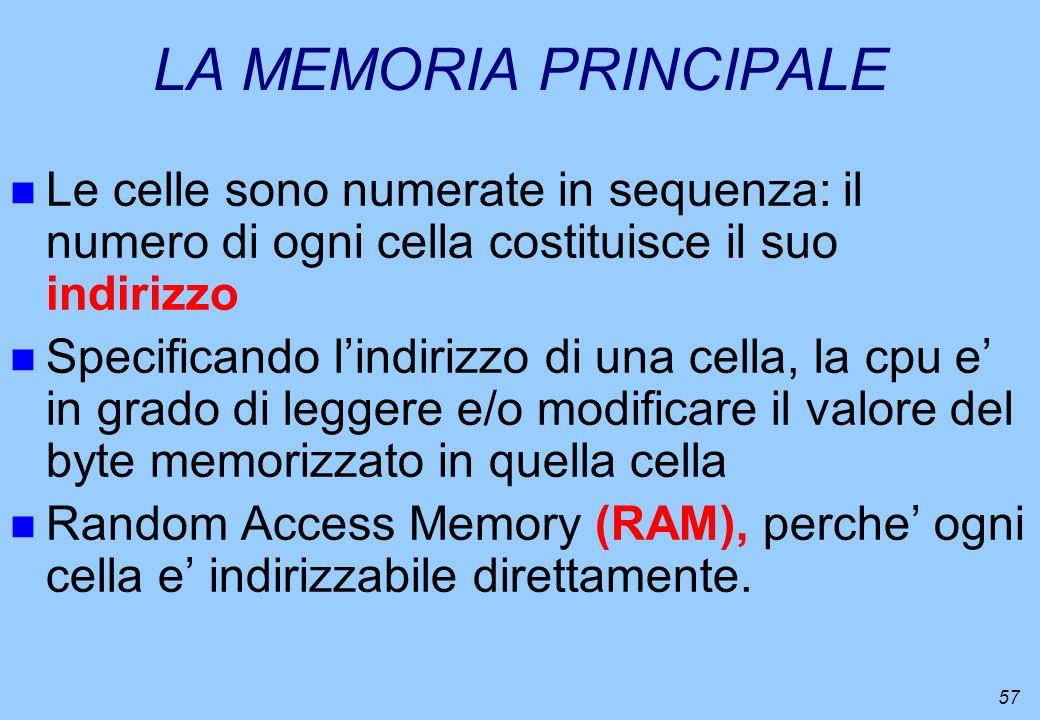 LA MEMORIA PRINCIPALE Le celle sono numerate in sequenza: il numero di ogni cella costituisce il suo indirizzo.