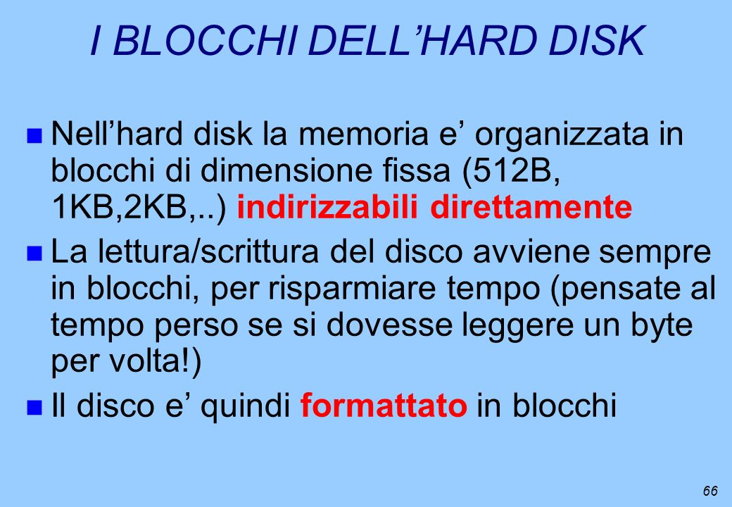 I BLOCCHI DELL'HARD DISK