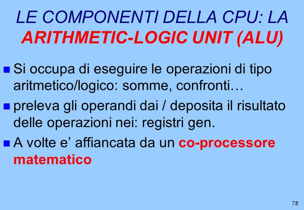 LE COMPONENTI DELLA CPU: LA ARITHMETIC-LOGIC UNIT (ALU)