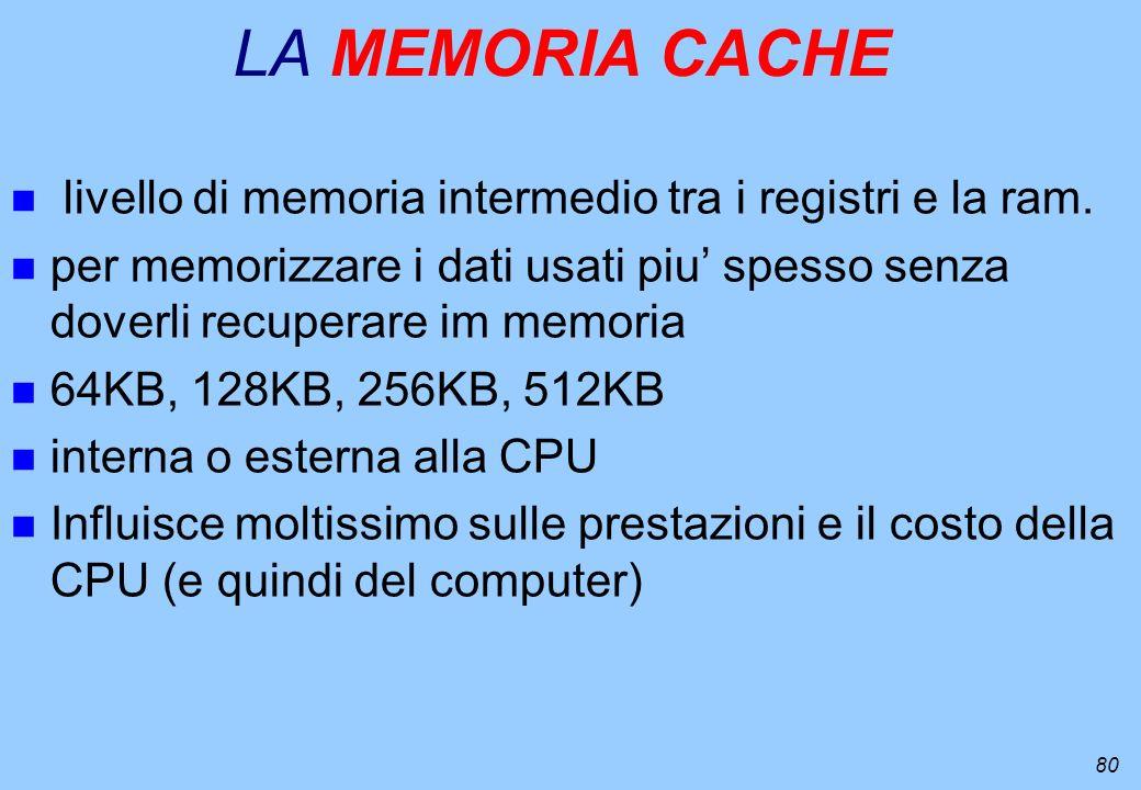 LA MEMORIA CACHE livello di memoria intermedio tra i registri e la ram. per memorizzare i dati usati piu' spesso senza doverli recuperare im memoria.