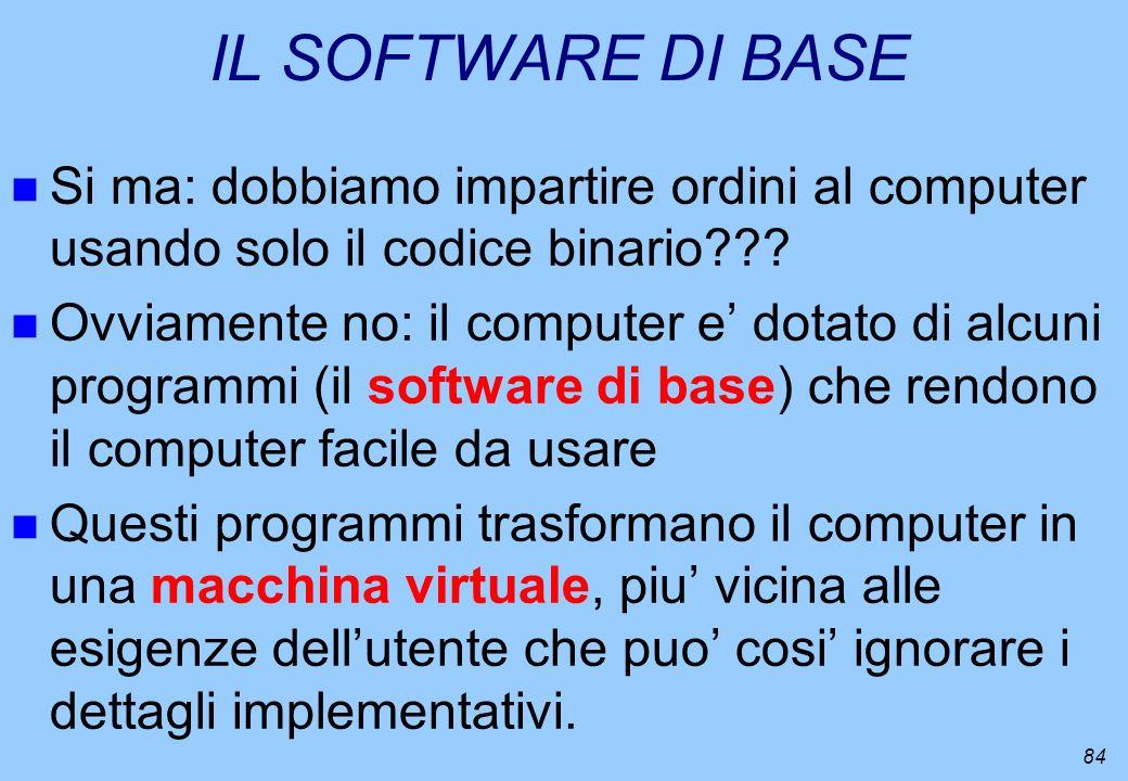 IL SOFTWARE DI BASE Si ma: dobbiamo impartire ordini al computer usando solo il codice binario