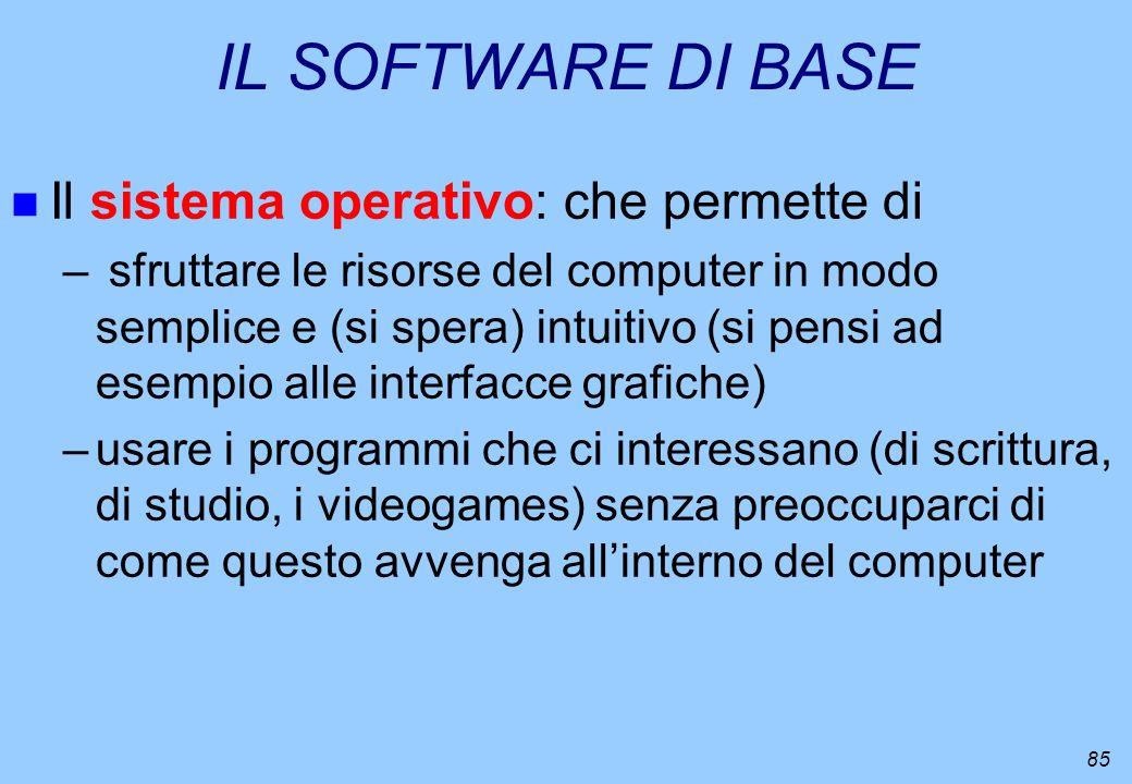 IL SOFTWARE DI BASE Il sistema operativo: che permette di