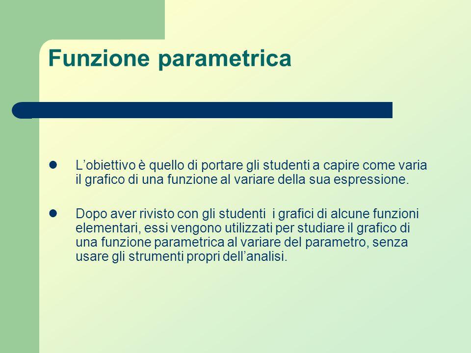 Funzione parametrica L'obiettivo è quello di portare gli studenti a capire come varia il grafico di una funzione al variare della sua espressione.