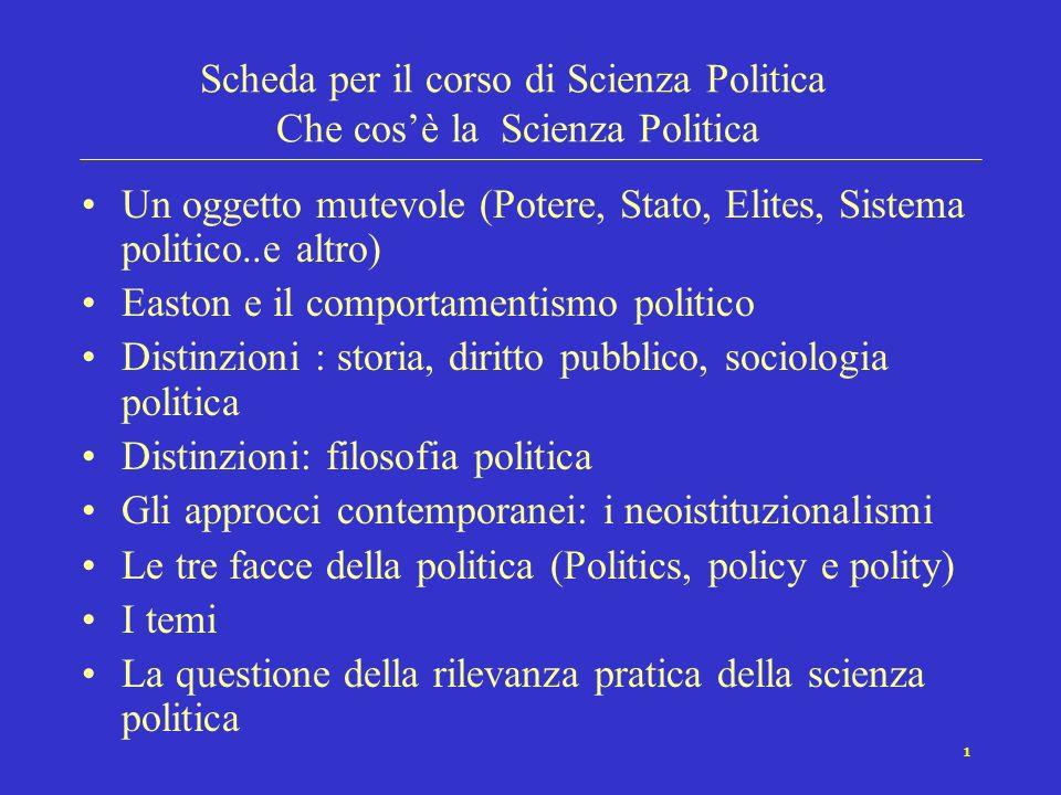 Scheda per il corso di Scienza Politica Che cos'è la Scienza Politica