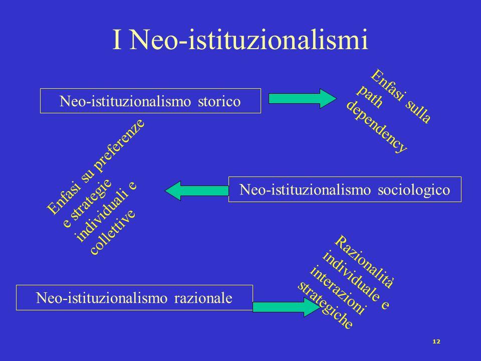 I Neo-istituzionalismi