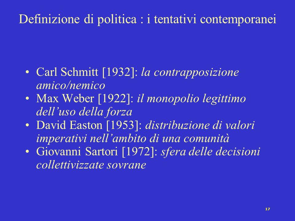 Definizione di politica : i tentativi contemporanei