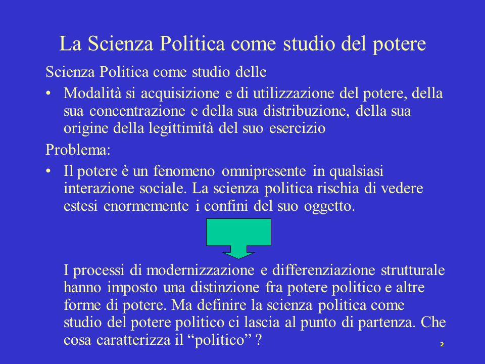 La Scienza Politica come studio del potere