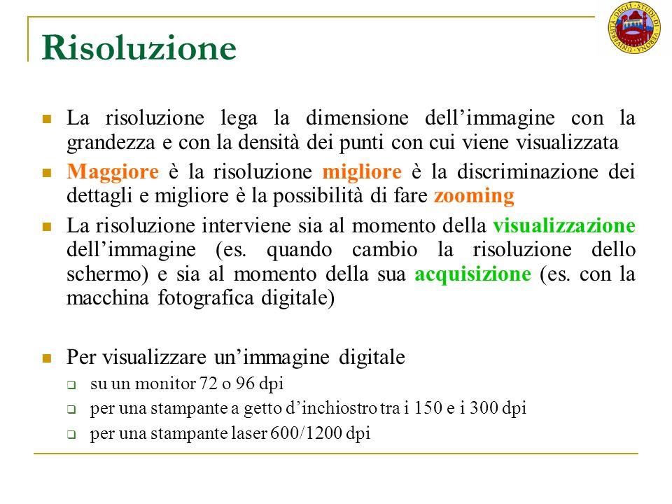 Risoluzione La risoluzione lega la dimensione dell'immagine con la grandezza e con la densità dei punti con cui viene visualizzata.