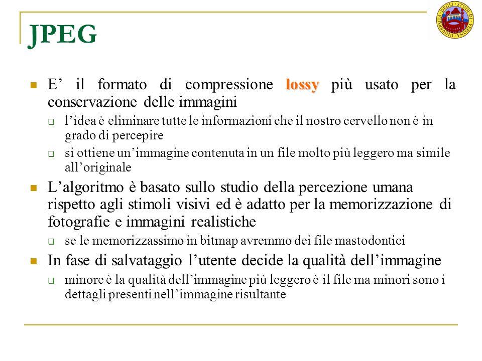 JPEG E' il formato di compressione lossy più usato per la conservazione delle immagini.