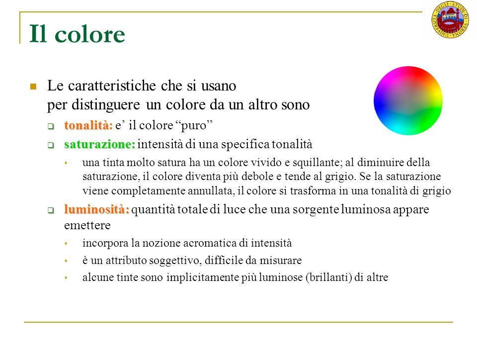 Il colore Le caratteristiche che si usano per distinguere un colore da un altro sono.