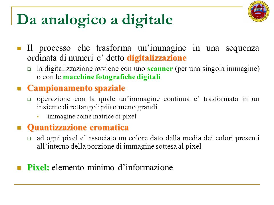 Da analogico a digitale