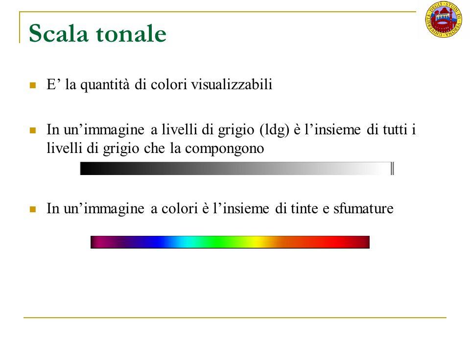 Scala tonale E' la quantità di colori visualizzabili