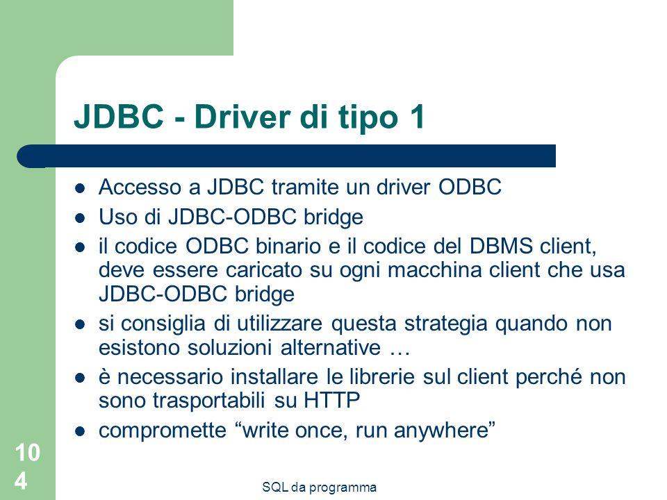 JDBC - Driver di tipo 1 Accesso a JDBC tramite un driver ODBC
