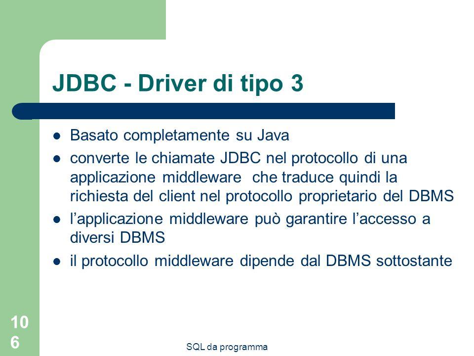 JDBC - Driver di tipo 3 Basato completamente su Java