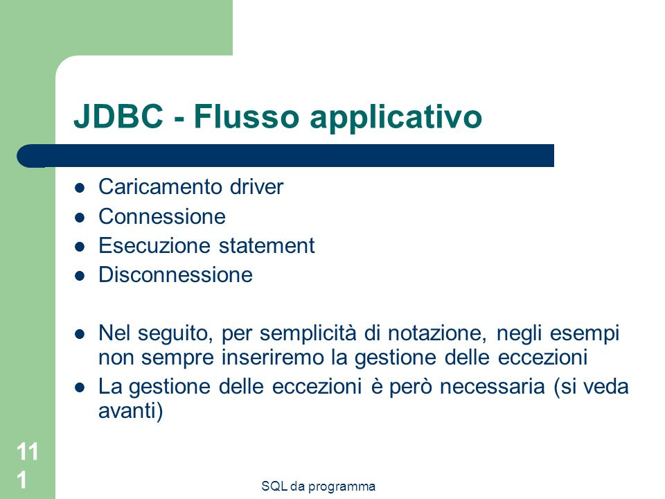 JDBC - Flusso applicativo