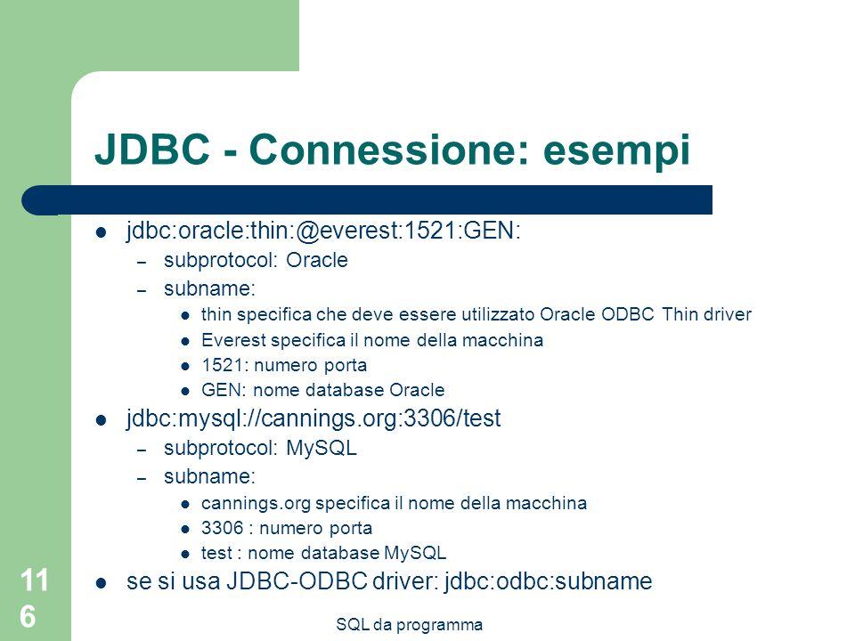 JDBC - Connessione: esempi