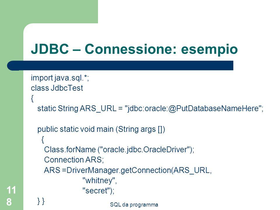 JDBC – Connessione: esempio