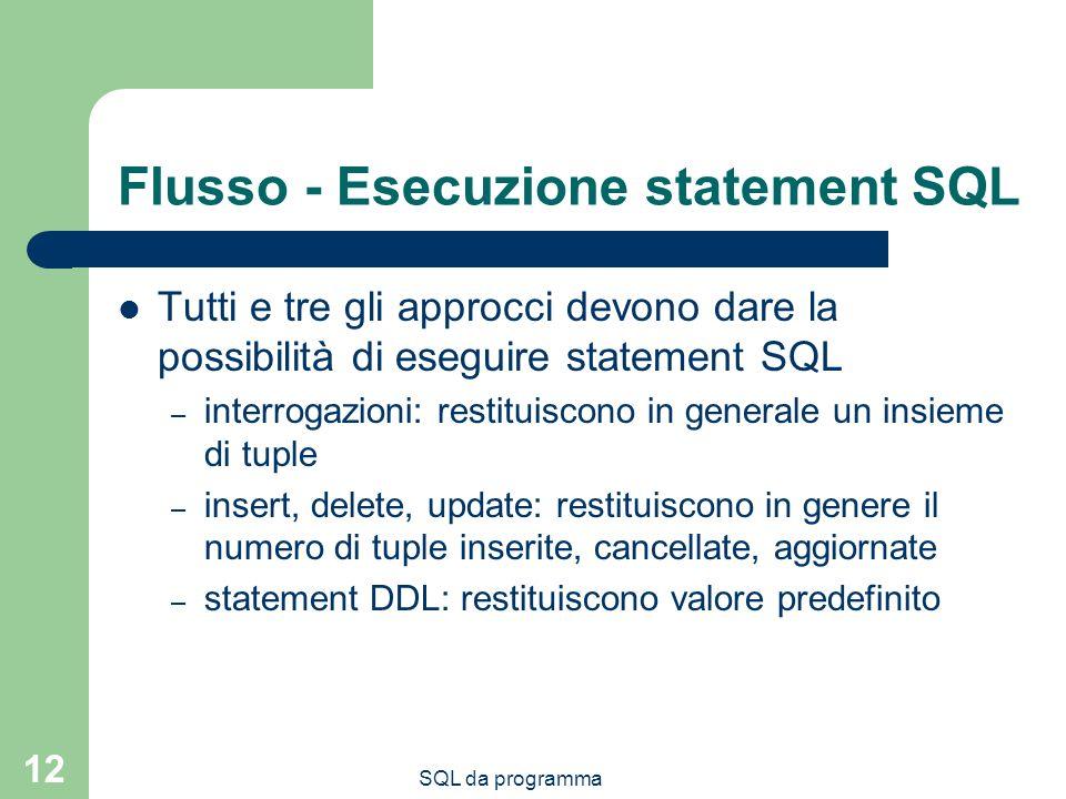 Flusso - Esecuzione statement SQL