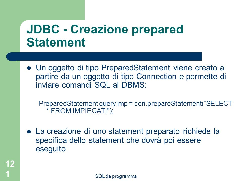 JDBC - Creazione prepared Statement