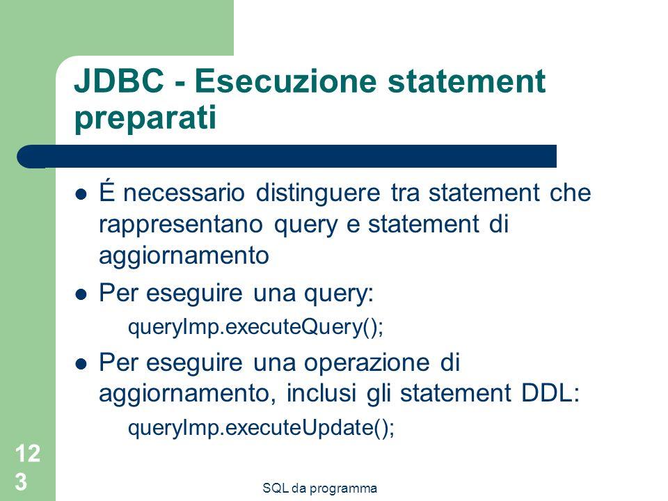 JDBC - Esecuzione statement preparati