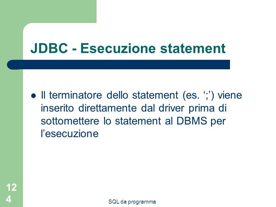 JDBC - Esecuzione statement