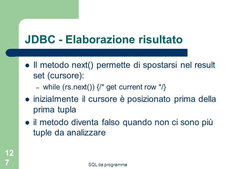 JDBC - Elaborazione risultato