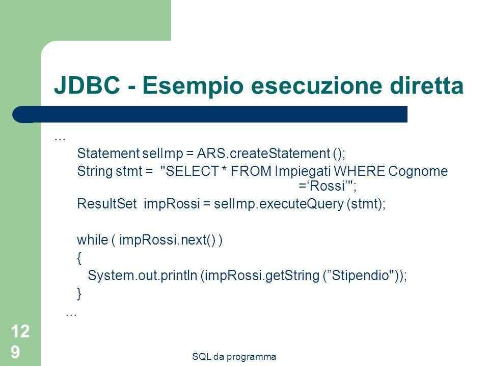 JDBC - Esempio esecuzione diretta