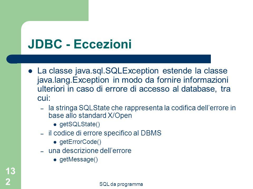 JDBC - Eccezioni