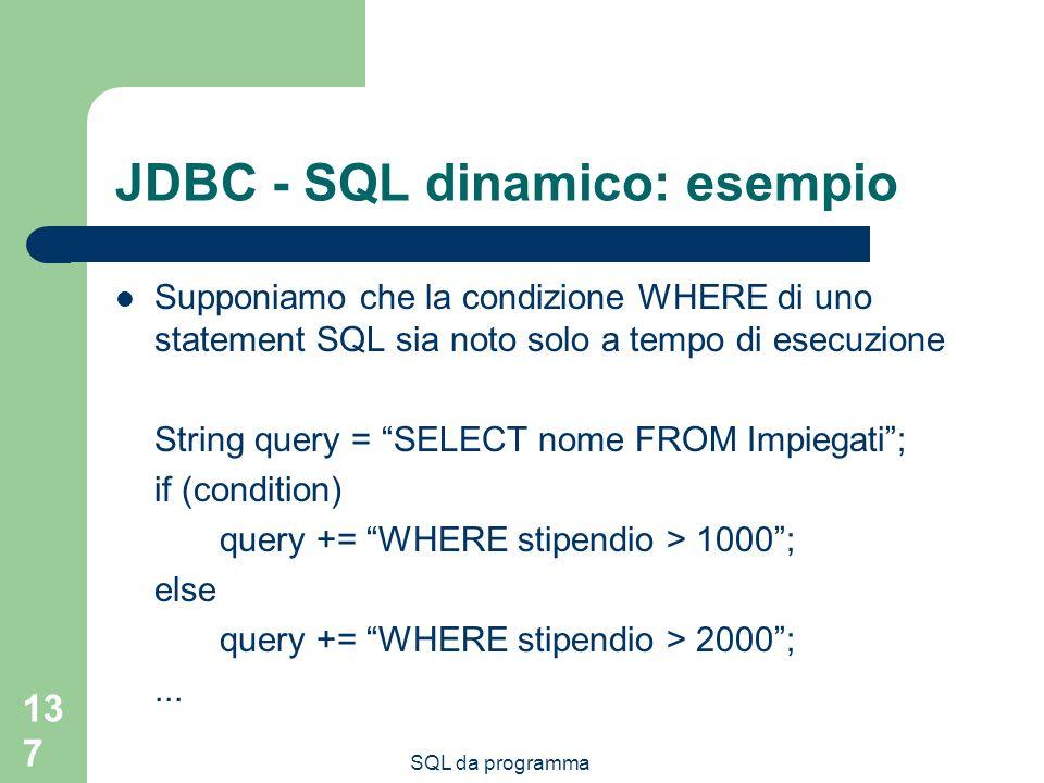 JDBC - SQL dinamico: esempio