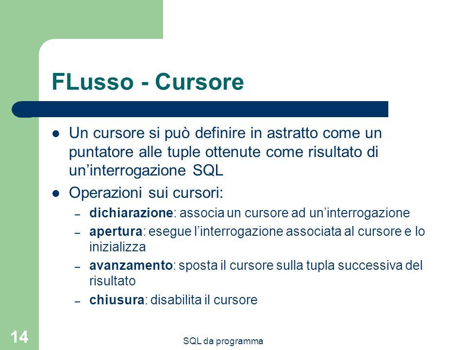 FLusso - Cursore Un cursore si può definire in astratto come un puntatore alle tuple ottenute come risultato di un'interrogazione SQL.