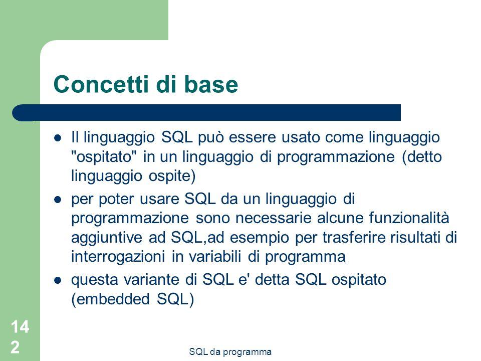 Concetti di base Il linguaggio SQL può essere usato come linguaggio ospitato in un linguaggio di programmazione (detto linguaggio ospite)