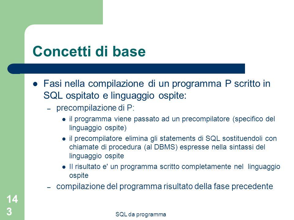 Concetti di base Fasi nella compilazione di un programma P scritto in SQL ospitato e linguaggio ospite: