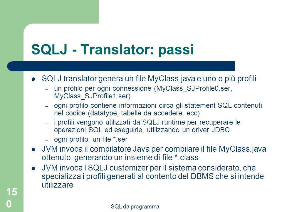 SQLJ - Translator: passi