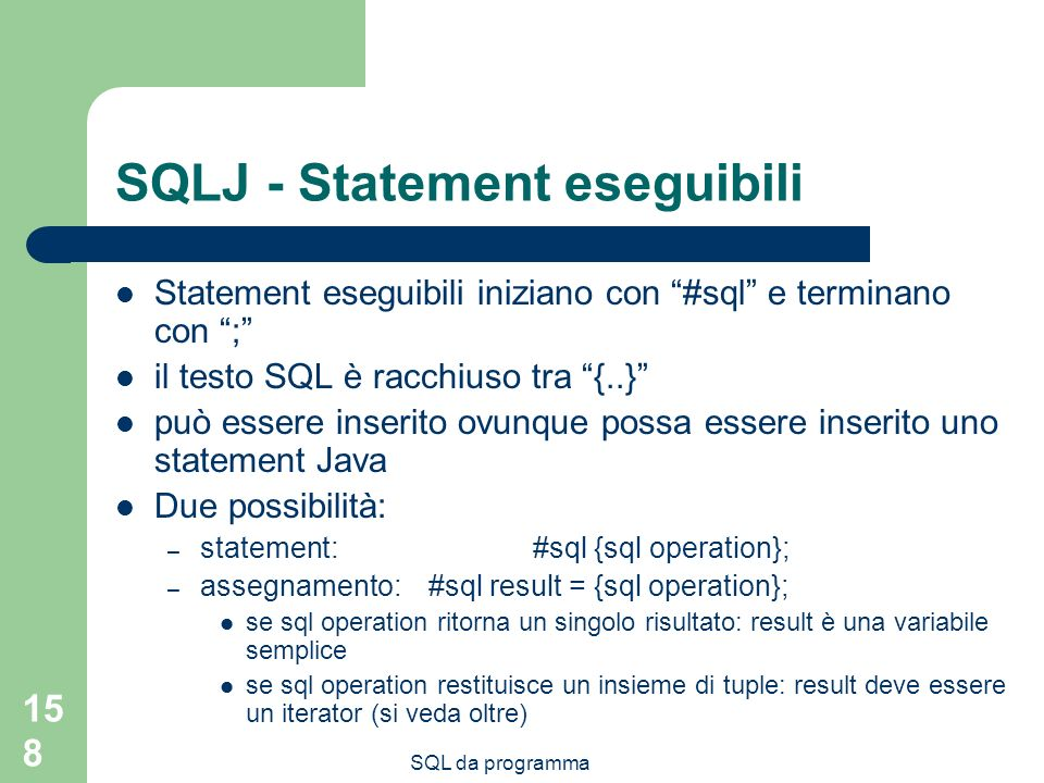 SQLJ - Statement eseguibili