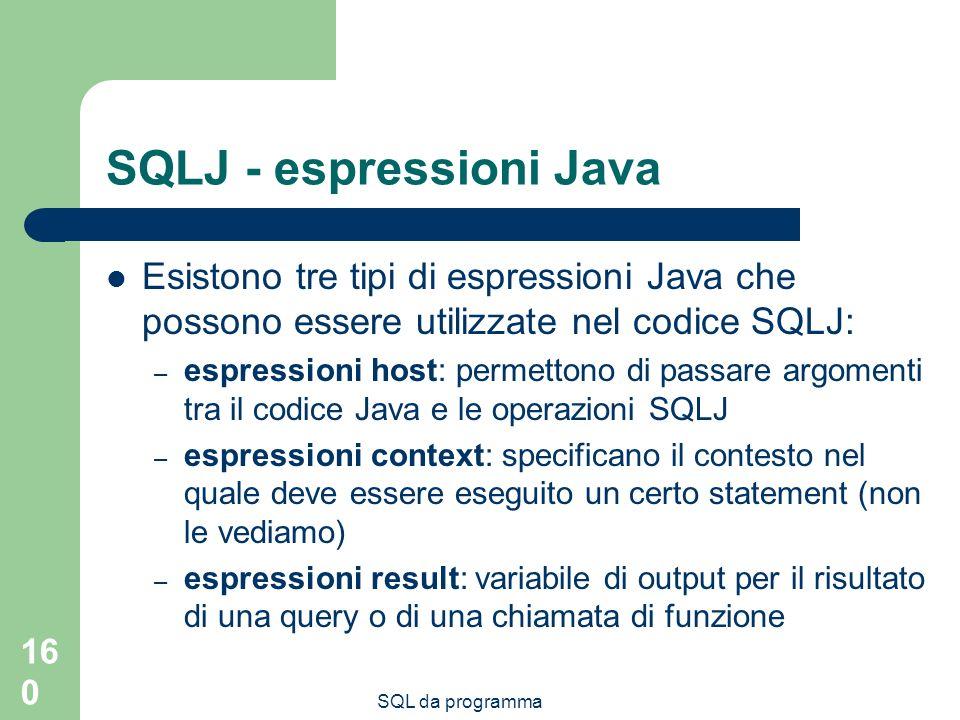SQLJ - espressioni Java