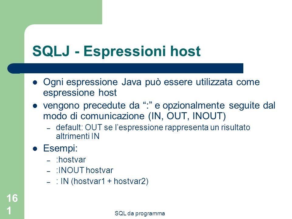 SQLJ - Espressioni host