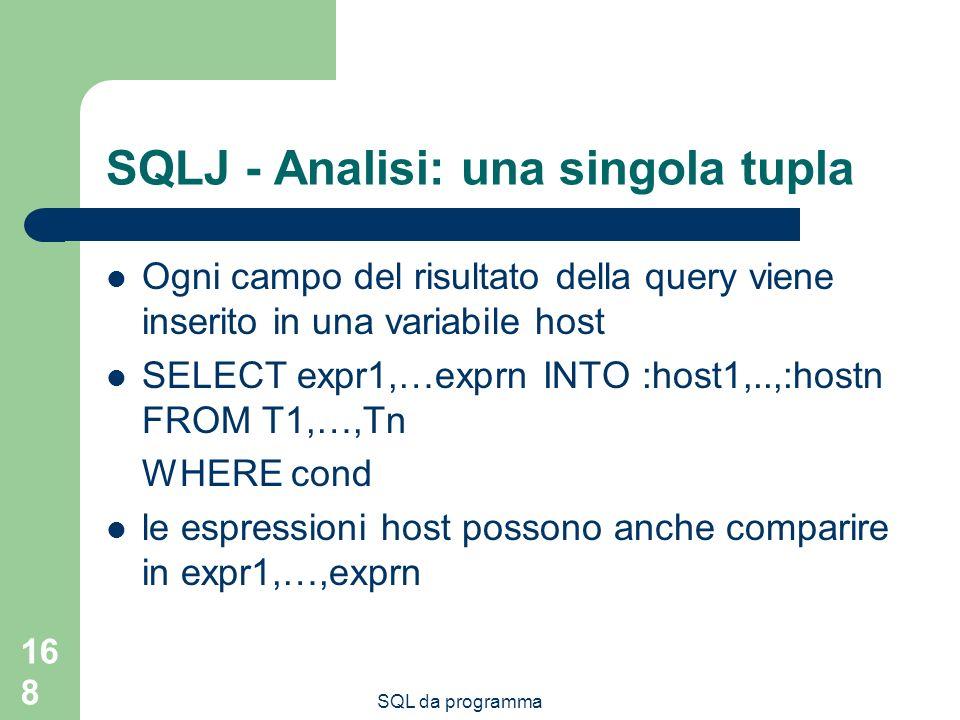 SQLJ - Analisi: una singola tupla