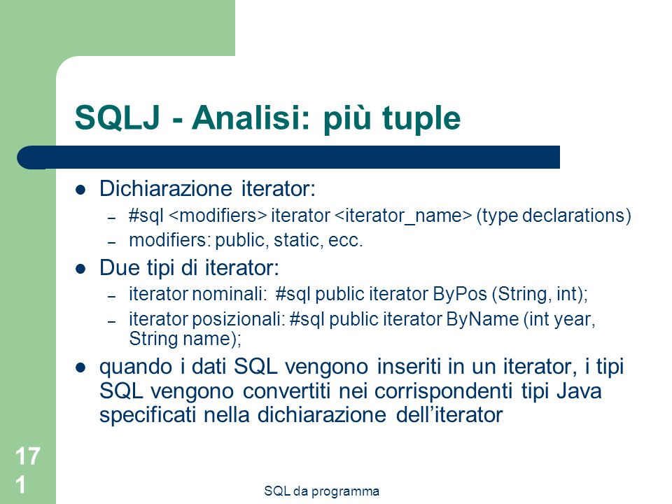 SQLJ - Analisi: più tuple