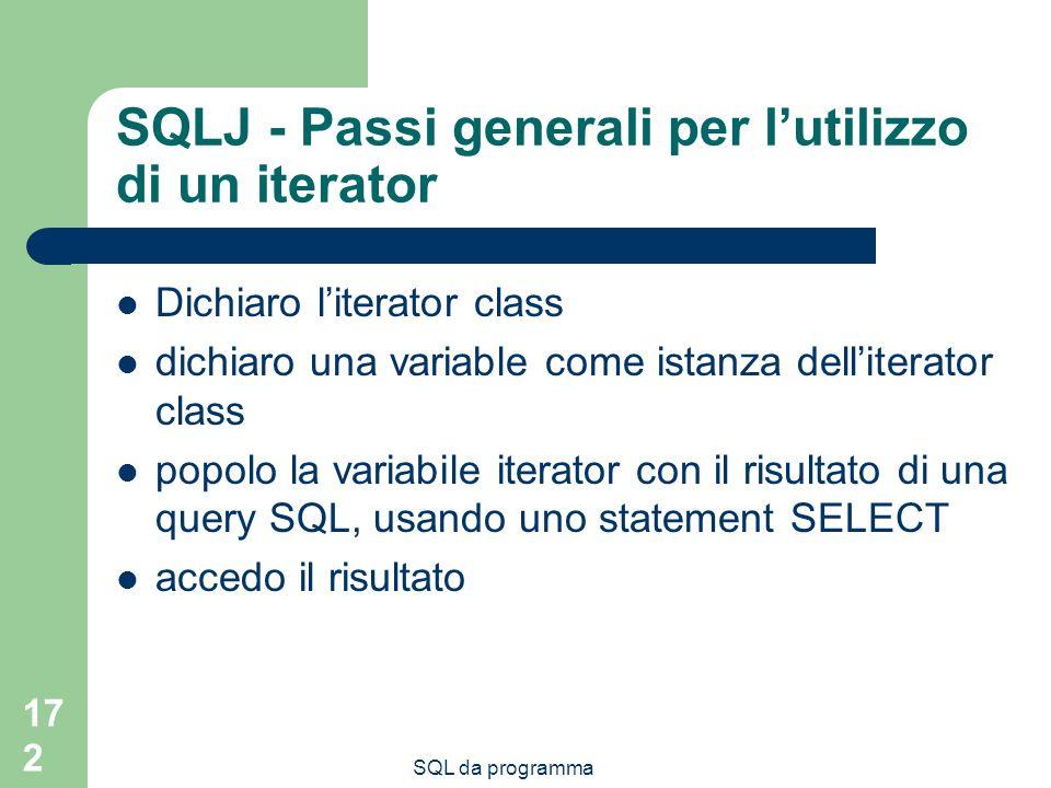 SQLJ - Passi generali per l'utilizzo di un iterator