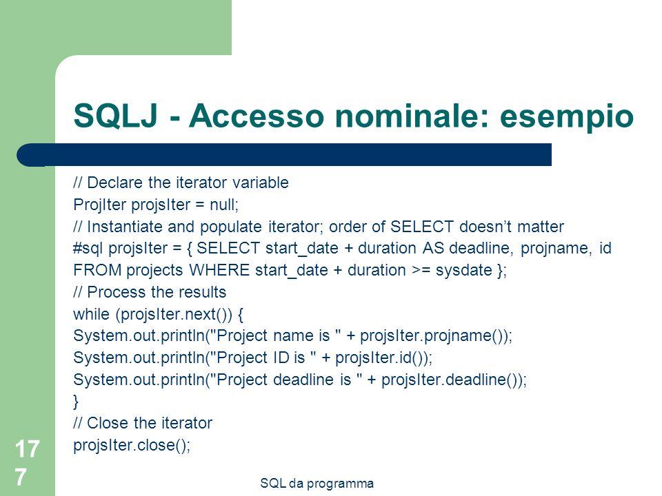 SQLJ - Accesso nominale: esempio