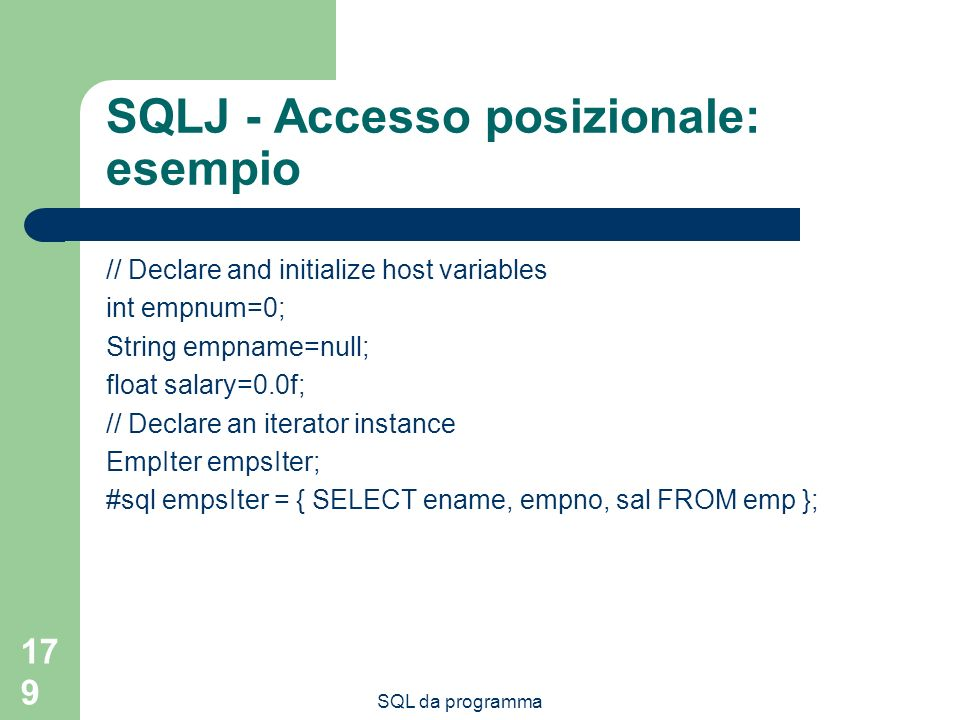 SQLJ - Accesso posizionale: esempio