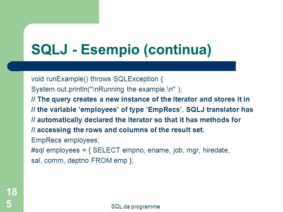 SQLJ - Esempio (continua)