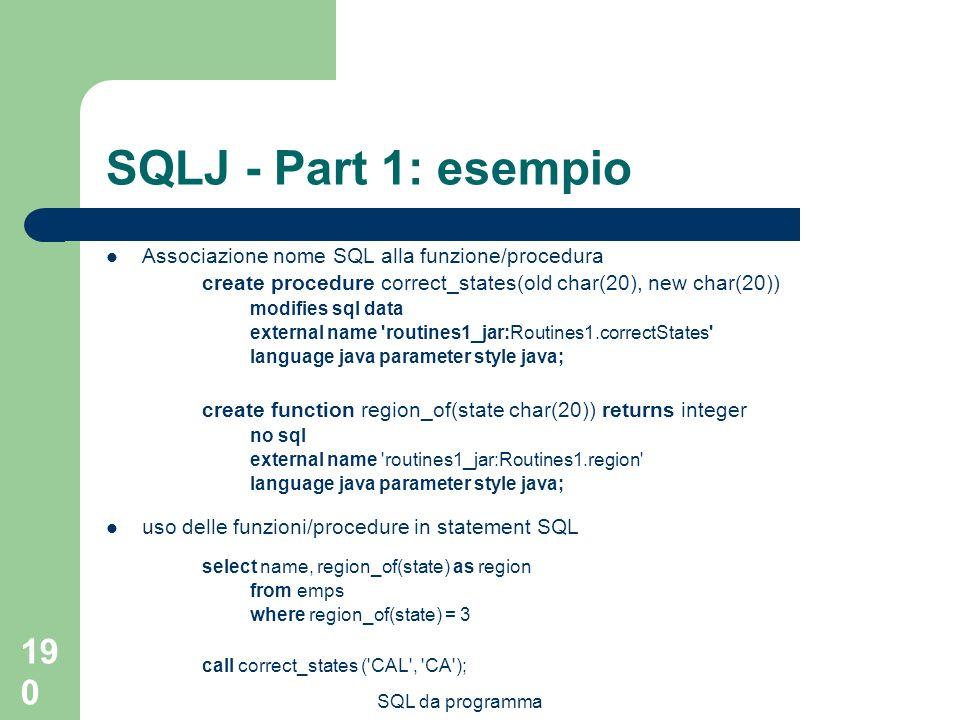 SQLJ - Part 1: esempio Associazione nome SQL alla funzione/procedura
